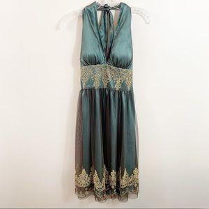 Adrianna Papell Boutique Green/Gold Halter Dress